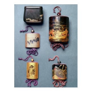 Inro and tobacco pouch postcards