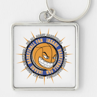 Insane Basketball Fan Silver-Colored Square Keychain