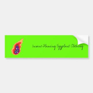 Insane Flaming Eggplant Clothing Bumper Sticker. Bumper Sticker