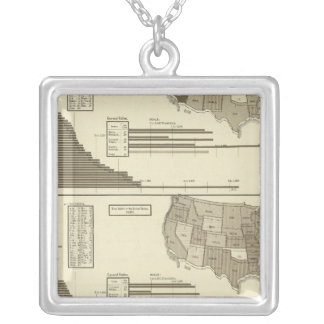 Insane, Idiotic, Blind statistical map Silver Plated Necklace