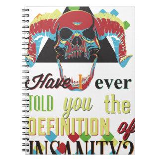 insanity and scary skull notebook