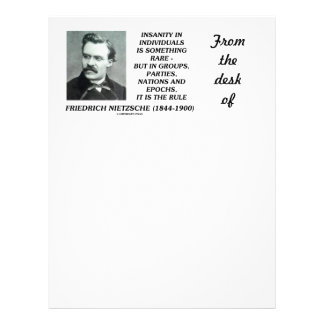 Insanity In Individuals Something Rare Nietzsche Letterhead