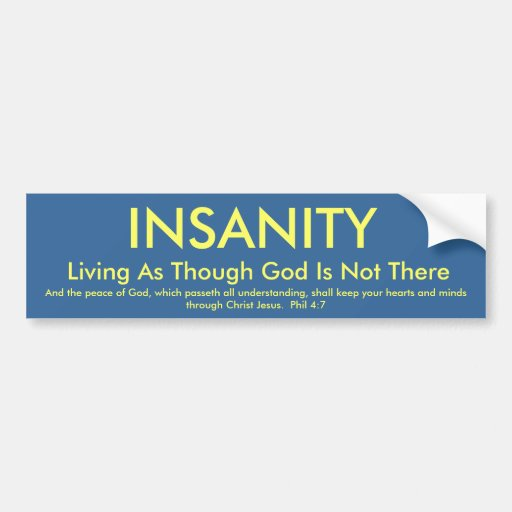 INSANITY, Living As Though God Is Not There, An... Bumper Sticker