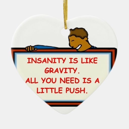 insanity Double-Sided heart ceramic christmas ornament