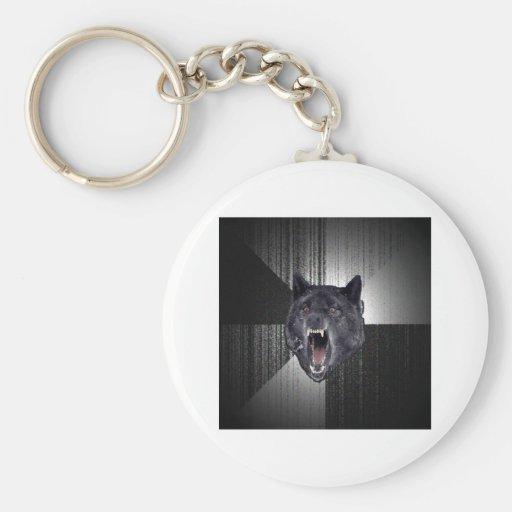 Insanity Wolf Advice Animal Meme Basic Round Button Keychain