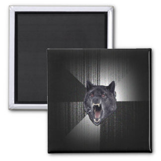 Insanity Wolf Meme Funny Memes Black Wolf 2 Inch Square Magnet