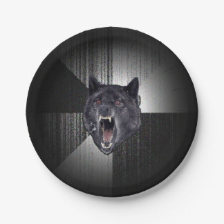 Insanity Wolf Meme Funny Memes Black Wolf 7 Inch Paper Plate