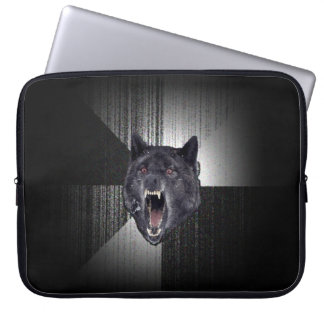 Insanity Wolf Meme Funny Memes Black Wolf Computer Sleeve