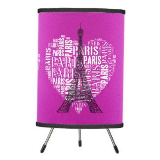 Inscripciones blancas negras rosadas París de la Lámpara Trípode