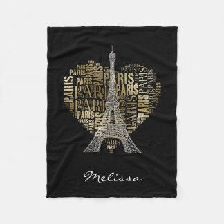 Inscripciones de oro París de la torre Eiffel el | Manta De Forro Polar