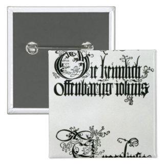 Inscripciones en escritura gótica pin cuadrado