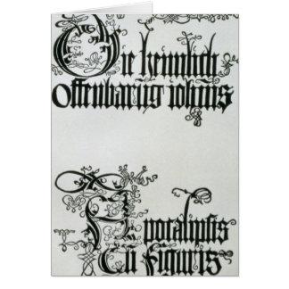 Inscriptions in Gothic script Card