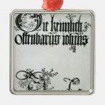 Inscriptions in Gothic script Christmas Ornament
