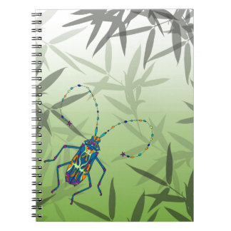 Insect Bamboo leaves Green Unique Pattern Notebook