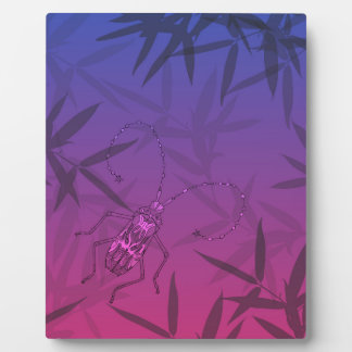 Insect Bamboo leaves Pink and Blue Unique Pattern Plaque