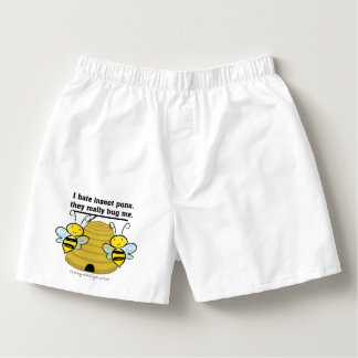 Insect Puns Bug Me Funny Bumble Bees Boxers