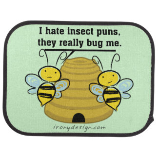 Insect Puns Bug Me Funny Bumble Bees Car Floor Mat