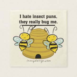 Insect Puns Bug Me Funny Bumble Bees Napkin