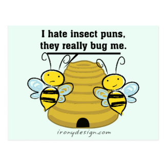 Insect Puns Bug Me Funny Bumble Bees Postcard