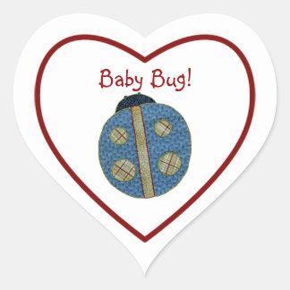 Insecto azul del bebé de la mariquita del estilo calcomanías de corazones