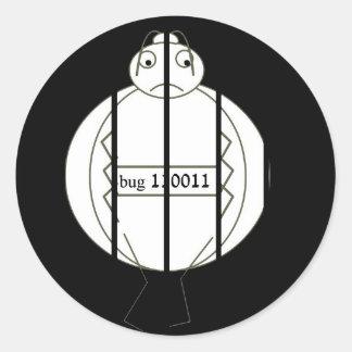 Insecto de la cárcel pegatina redonda