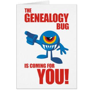 Insecto de la genealogía que viene para USTED Tarjeta De Felicitación