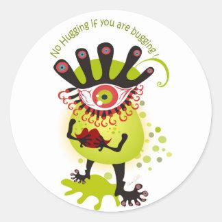 Insecto de la gripe pegatina redonda