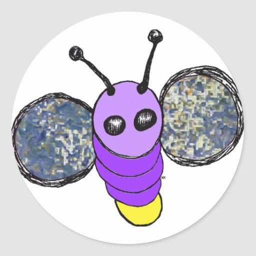 Insecto de relámpago pegatina redonda