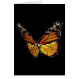 Insecto de vuelo anaranjado de la mariposa del mon tarjeta de felicitación
