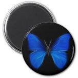 Insecto de vuelo azul de la mariposa imán redondo 5 cm