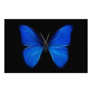 Insecto de vuelo azul de la mariposa papelería personalizada