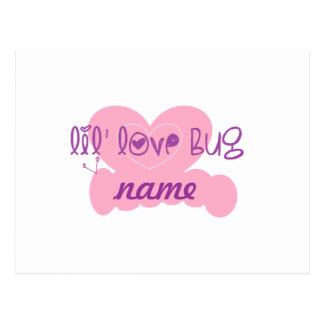 Insecto del amor de Lil: personalizar w/name Tarjetas Postales