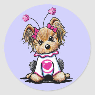 Insecto del amor de Yorkie Terrier Pegatina Redonda