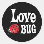 Insecto del amor - mariquita pegatina redonda