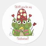 Insecto del amor: Sea mis pegatinas de la tarjeta Etiqueta Redonda