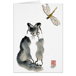 Insecto desagradable [libélula] y gatito gris tarjeta de felicitación