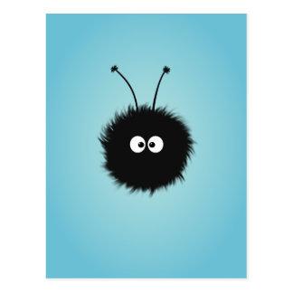 Insecto deslumbrado mullido lindo azul postal