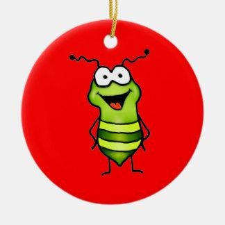 Insecto feliz adorno navideño redondo de cerámica
