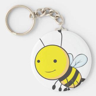 Insecto feliz de la abeja del bebé del vuelo llavero redondo tipo pin