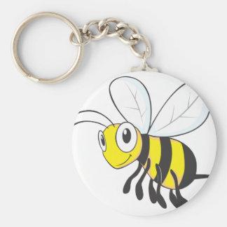 Insecto feliz de la abeja del vuelo llavero redondo tipo pin