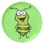 Insecto feliz plato para fiesta