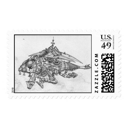 Insecto mecánico que vuela timbre postal