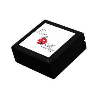 Insecto rojo del amor - mariquita joyero cuadrado pequeño