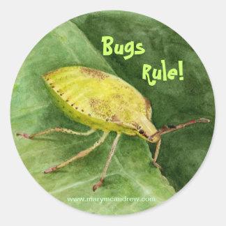 Insecto verde claro del hedor etiqueta redonda