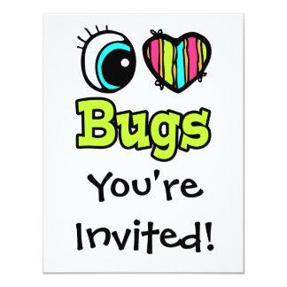 """Insectos brillantes del amor del corazón I del ojo Invitación 4.25"""" X 5.5"""""""