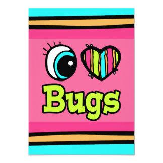 """Insectos brillantes del amor del corazón I del ojo Invitación 4.5"""" X 6.25"""""""