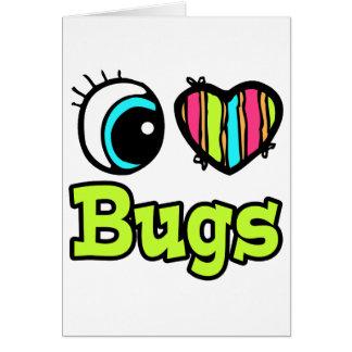 Insectos brillantes del amor del corazón I del ojo Tarjeta De Felicitación