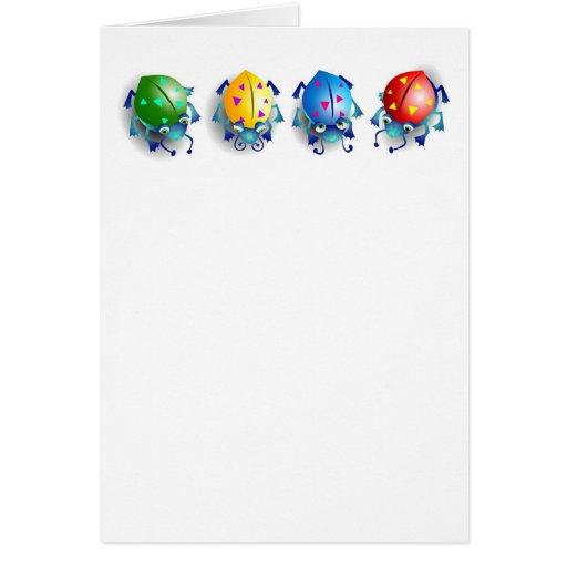 Insectos coloridos lindos tarjeta de felicitación