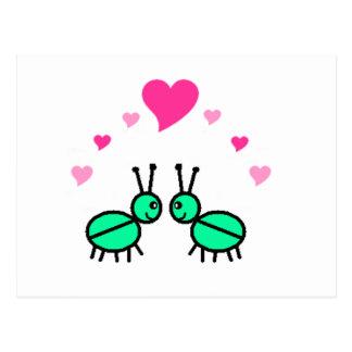 Insectos de junio en amor tarjetas postales