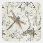 Insectos de Katsushika Hokusai Calcomanías Cuadradases